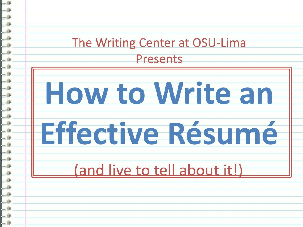 how to write an effective r sum l.