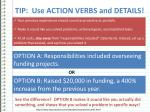 tip use action verbs and details