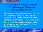 ashp urges members to support jcaho proposed medication management standards