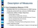 description of measures