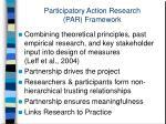 participatory action research par framework