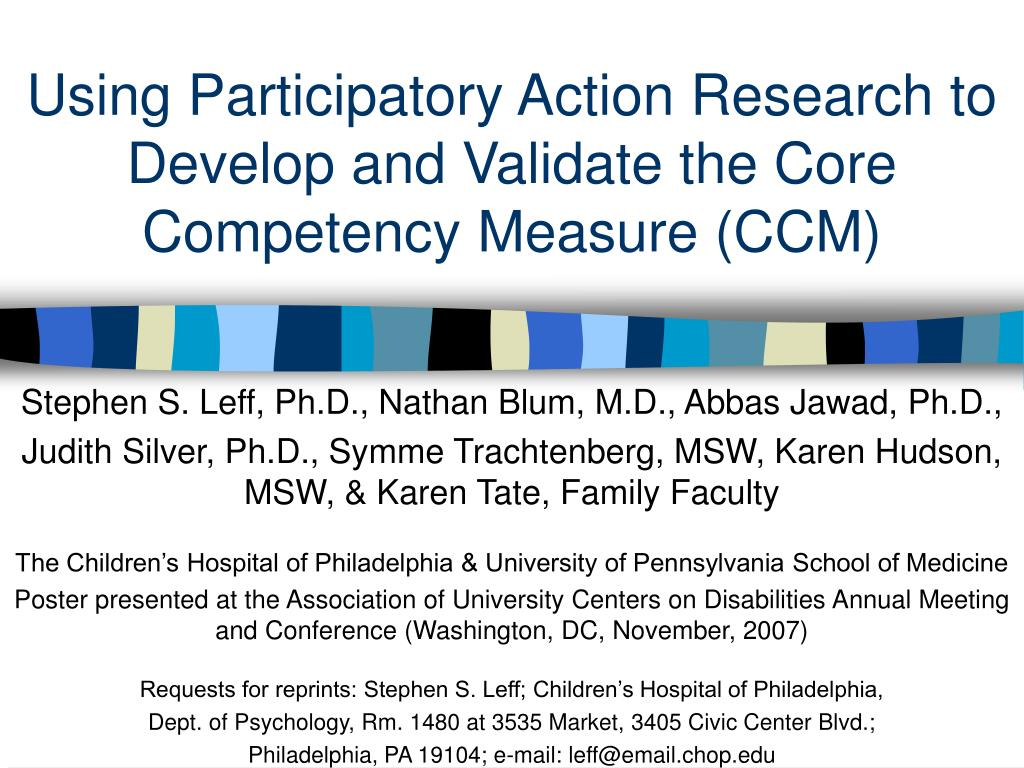 using participatory action research to develop and validate the core competency measure ccm l.