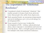the importance of emotional resilience