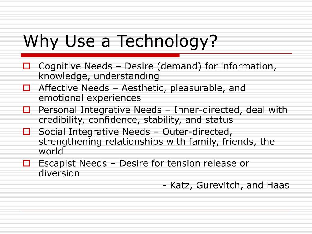 Why Use a Technology?