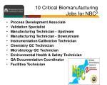 10 critical biomanufacturing jobs for nbc 2
