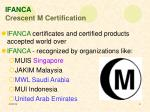 ifanca crescent m certification