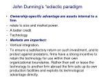 john dunning s eclectic paradigm