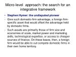 micro level approach the search for an integrative framework
