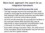 micro level approach the search for an integrative framework31