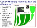 can evolutionary history explain the differences