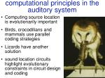 computational principles in the auditory system