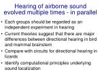 hearing of airborne sound evolved multiple times in parallel