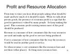 profit and resource allocation