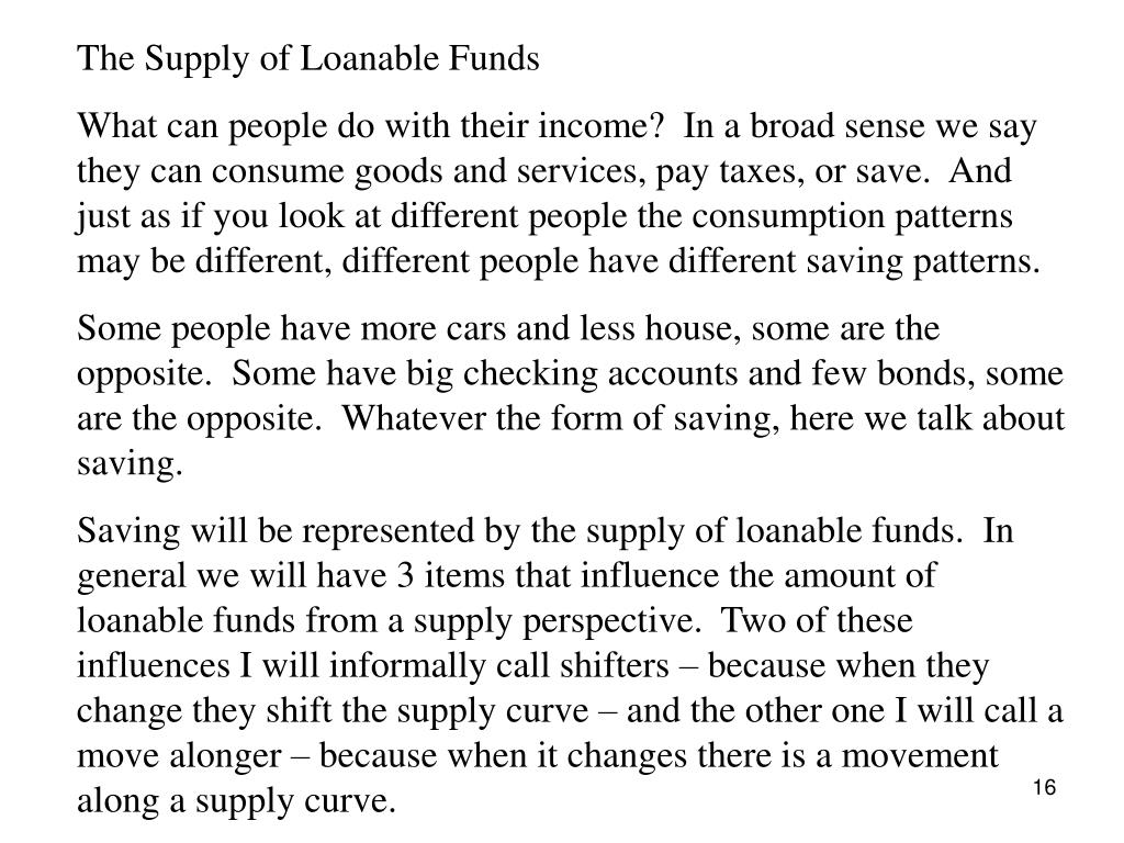 The Supply of Loanable Funds