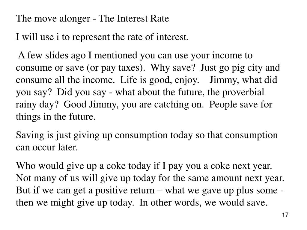The move alonger - The Interest Rate