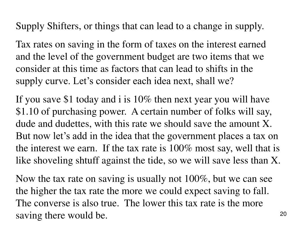 Supply Shifters, or things that can lead to a change in supply.