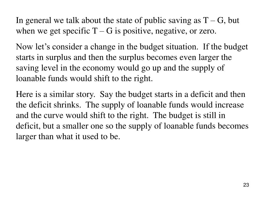 In general we talk about the state of public saving as T – G, but when we get specific T – G is positive, negative, or zero.