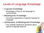 levels of language knowledge