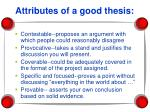 attributes of a good thesis