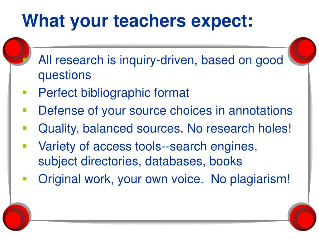 What your teachers expect: