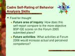 cadre self rating of behavior analysis skills