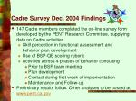 cadre survey dec 2004 findings