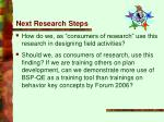 next research steps