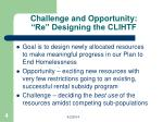 challenge and opportunity re designing the clihtf