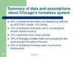 summary of data and assumptions about chicago s homeless system