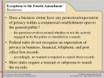 exceptions to the fourth amendment businesses