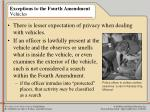 exceptions to the fourth amendment vehicles