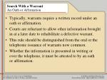 search with a warrant an oath or affirmation