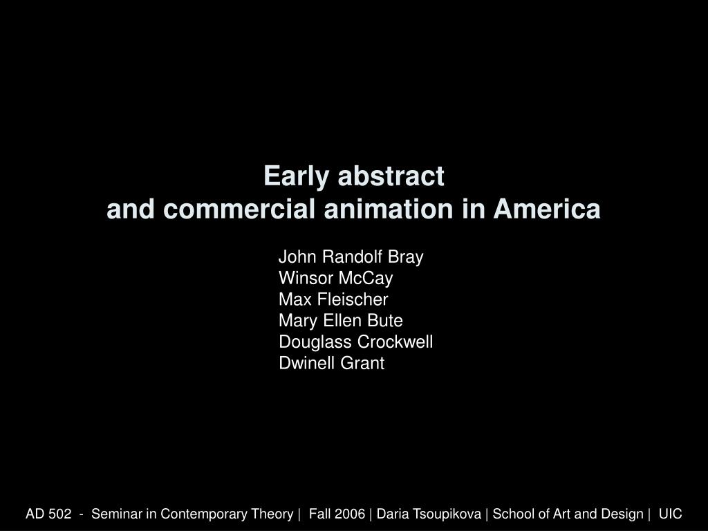 early abstract and commercial animation in america l.