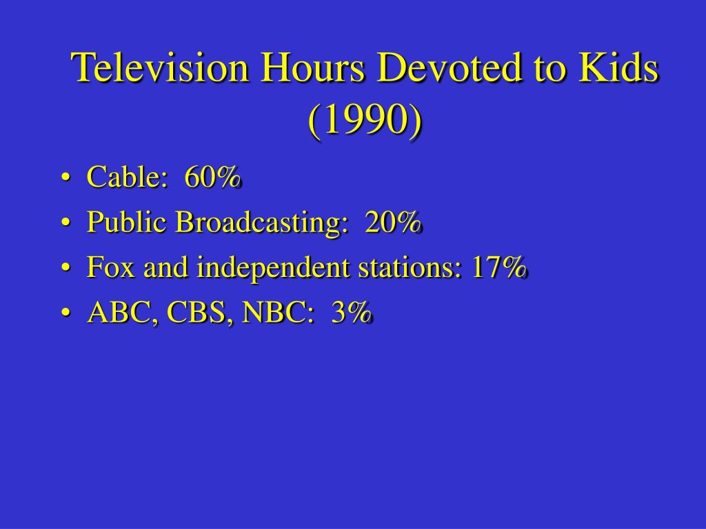 television hours devoted to kids 1990 l.