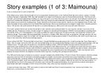 story examples 1 of 3 maimouna