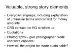 valuable strong story elements