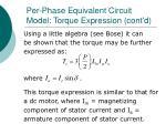 per phase equivalent circuit model torque expression cont d