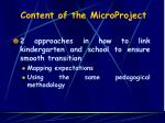 content of the microproject
