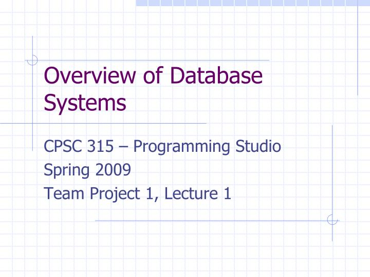 overview of database systems n.