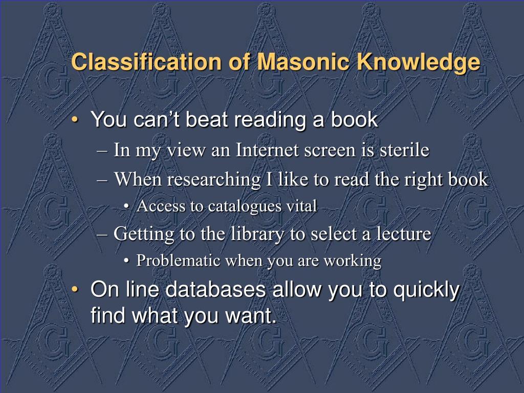Classification of Masonic Knowledge