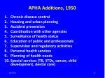 apha additions 1950