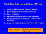 public health responsibilities or mission