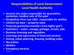 responsibilities of local government local health authority