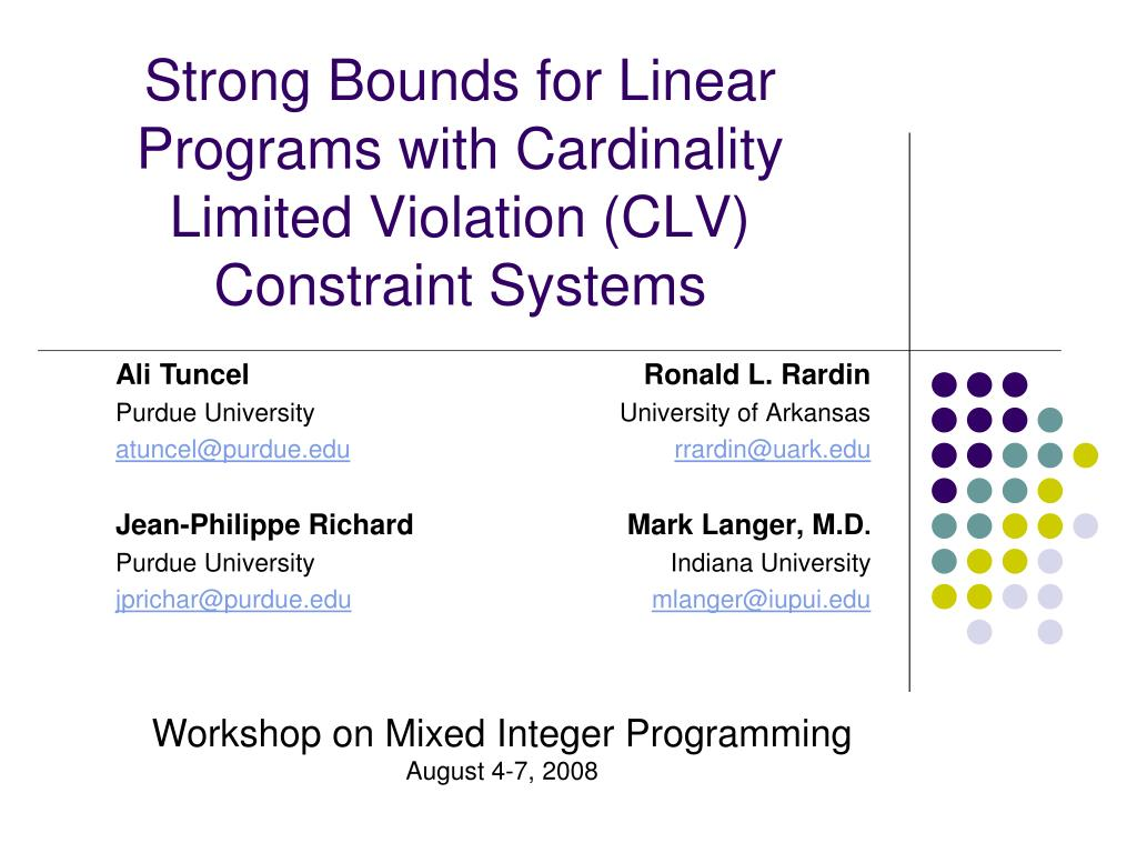 strong bounds for linear programs with cardinality limited violation clv constraint systems l.