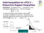 valid inequalities for lpclv disjunctive support inequalities