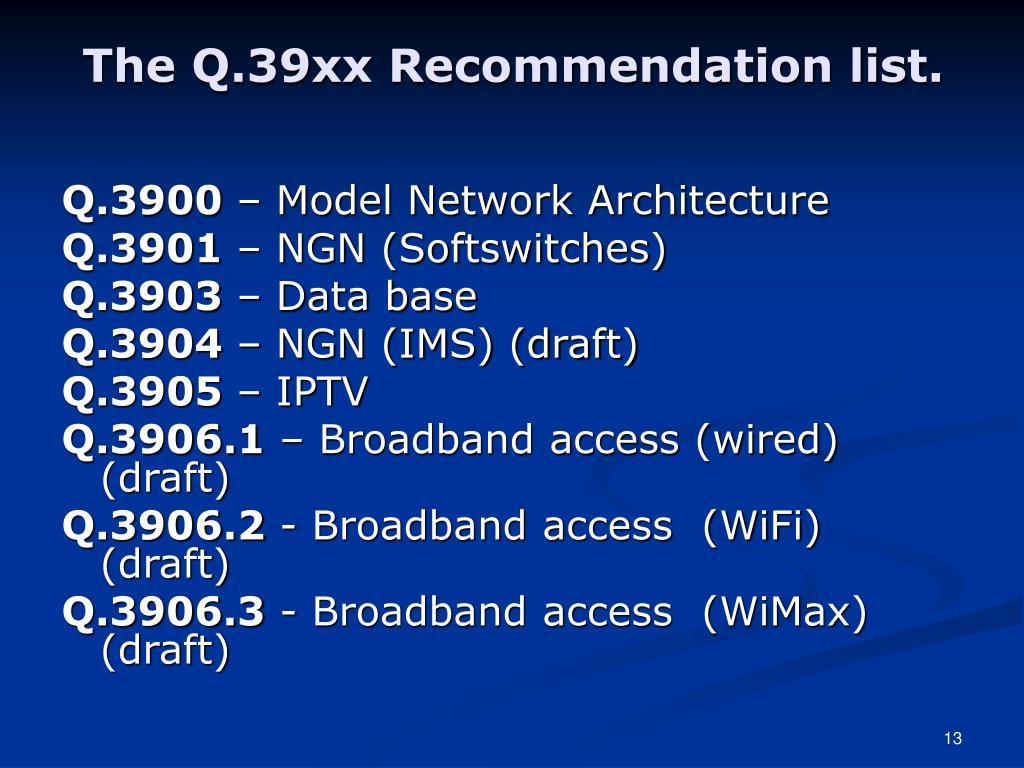 The Q.39xx Recommendation list.