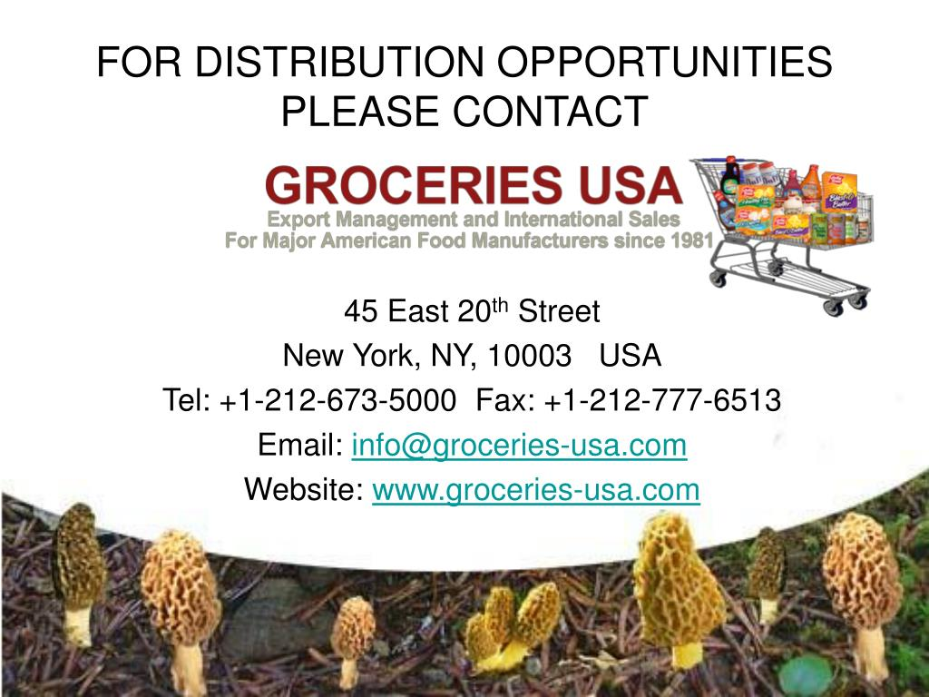 FOR DISTRIBUTION OPPORTUNITIES