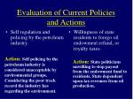 evaluation of current policies and actions12