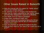 other issues raised in bulworth