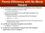 pareto efficiency with no moral hazard50